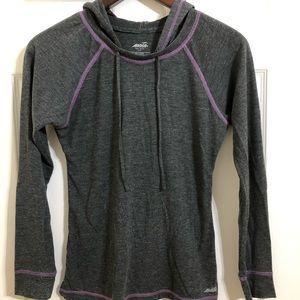 Avia Grey Hooded Long Sleeve Shirt Small
